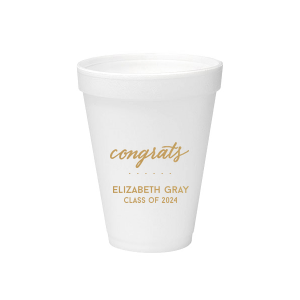 Our beautiful custom Gold Ink 20 oz Styrofoam Cup with Gold Ink Cup Ink Colors has a Congrats graphic and is good for use in Words, Hearts, Wedding themed parties and can be personalized to match your party's exact theme and tempo.