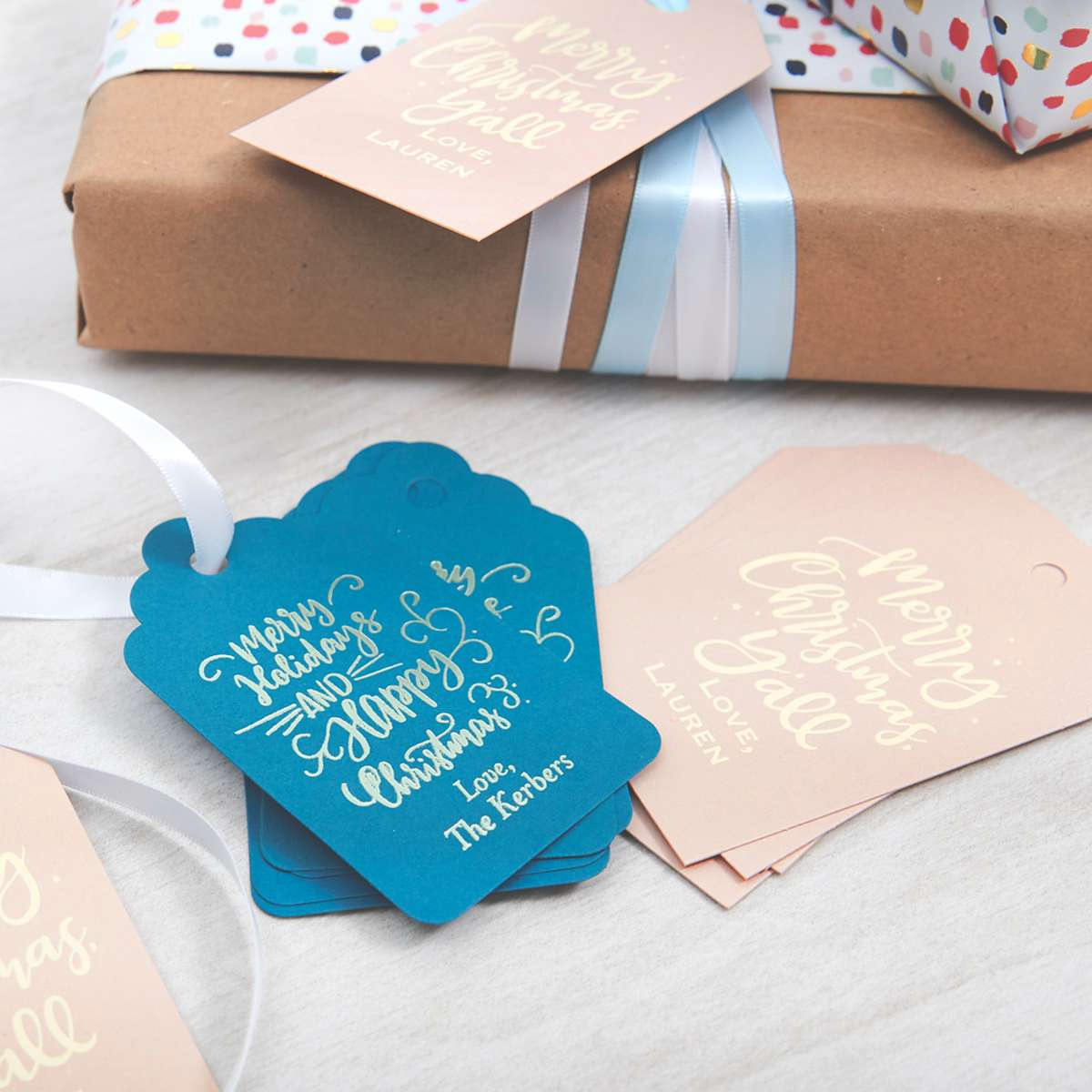custom designed gift tags on Christmas gifts