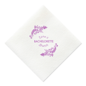 Does the bride love brunch? Celebrate her bachelorette brunch with this custom Lavender napkin that will be a fabulous addition to the mimosa bar! Personalize it with the bride's name for a detail she'll love.