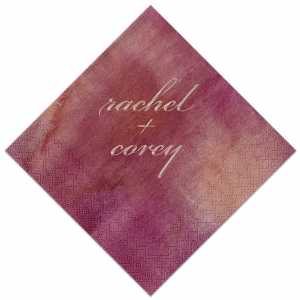Our beautiful custom Watercolor Sangria Foil Embossed Cocktail Napkin with Shiny Rose Gold Foil are a must-have for your next event—whatever the celebration!