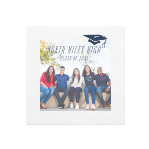 Our custom White Borderless Photo/Full Color Cocktail Napkin with Matte Navy Ink Digital Print Colors has a Cap graphic and is good for use in Graduation themed parties and can't be beat. Showcase your style in every detail of your party's theme!