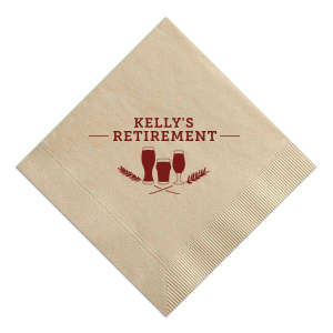 ForYourParty's elegant Sand Cocktail Napkin with Matte Merlot Foil Color has a Hops Flourish graphic and is good for use in Accents themed parties and can be customized to complement every last detail of your party.