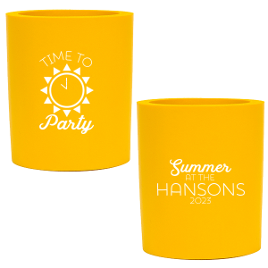 Our beautiful custom Yellow Round Can Cooler with Matte White Ink Cup Ink Colors has a Sun graphic and is good for use in Beach, Pool and Nautical themed parties and couldn't be more perfect. It's time to show off your impeccable taste.