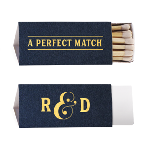 ForYourParty's chic Stardream Navy Triangle Matchbox with Shiny 18 Kt Gold Foil can be personalized to match your party's exact theme and tempo.