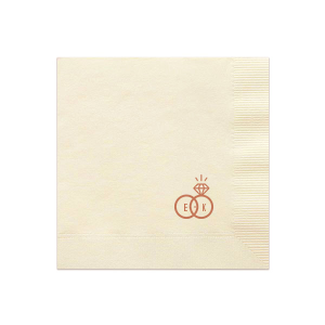 Our beautiful custom Ivory Cocktail Napkin with Satin Copper Penny Foil Color has a Wedding Rings 2 graphic and is good for use in Wedding themed parties and will give your party the personalized touch every host desires.