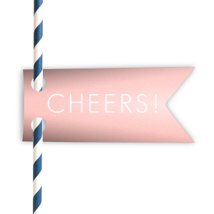 The ever-popular Poptone Ballet Pink Straw Tag with Matte White Foil has a Cheers graphic designed by Martha Stewart Weddings and will be the perfect addition to your next party drinks