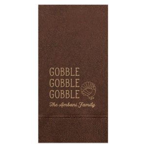 Our beautiful custom Brownie Cocktail Napkin with Shiny Champagne Foil has a Turkey graphic and is good for use in Holiday and Thanksgiving themed parties and are a must-have for your next event—whatever the celebration!
