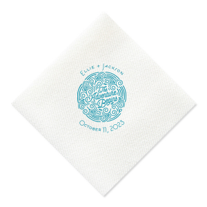 Add the perfect touch to your bar, dessert table or appetizers with this Adventure Begins personalized Ivory napkin. Pair your names and date with our Adventure Badge for a seamless detail in your outdoor themed wedding.