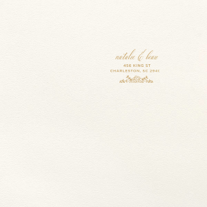 Our beautiful custom Lettra Pearl White 110lb Invitation Envelope with Satin 18 Kt. Gold Foil has a Rose Accent graphic and is good for use in Wedding, Floral themed parties and are a must-have for your next event—whatever the celebration!