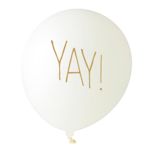 Custom White Designer Balloon with Gold Ink Ink Color has a Yay graphic and is good for use in Words themed parties and are a must-have for your next event—whatever the celebration!