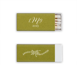 Our custom Poptone Dark Olive Euro Matchbox with Matte White Foil has a Rose Flourish graphic and is good for use in Floral, Wedding themed parties and will add that special attention to detail that cannot be overlooked.