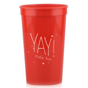 Our beautiful custom Maroon 16 oz Stadium Cup with Matte Pastel Pink Ink Cup Ink Colors has a Yay graphic and is good for use in Words, Birthday, Graduation themed parties and can't be beat. Showcase your style in every detail of your party's theme!