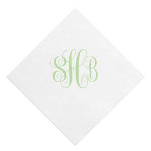 Our beautiful custom White Quick Ink Printed Cocktail Napkin with Matte Sage Ink  can be personalized to match your party's exact theme and tempo.