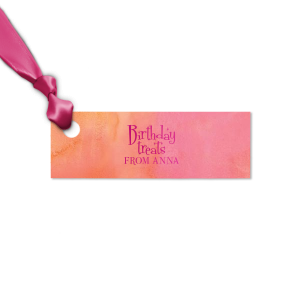 ForYourParty's personalized Watercolor Hibiscus Butterfly Gift Tag with Shiny Fuchsia Foil are a must-have for your next event—whatever the celebration!