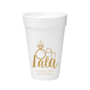 Our custom Gold Ink 20 oz Styrofoam Cup with Gold Ink Cup Ink Colors has a Diamond Ring graphic and is good for use in Wedding, Bridal Shower themed parties and are a must-have for your next event—whatever the celebration!