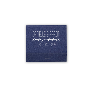 Our personalized Shimmer Amethyst 30 Strike Matchbook with Matte White Foil has a Leaf Vine graphic and is good for use in Frames themed parties and are a must-have for your next event—whatever the celebration!