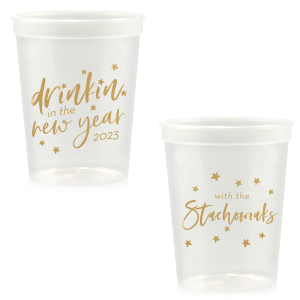 Personalized Clear 16 oz Stadium Cup with Gold Ink Cup Ink Colors couldn't be more perfect. It's time to show off your impeccable taste.