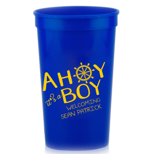 The ever-popular Royal Blue 16 oz Stadium Cup with Matte Sunflower Ink has a Nautical graphic and a cute rhyme. Perfect for use in Beach/Nautical and Baby Shower themed parties and will give your party the personalized touch every host desires.