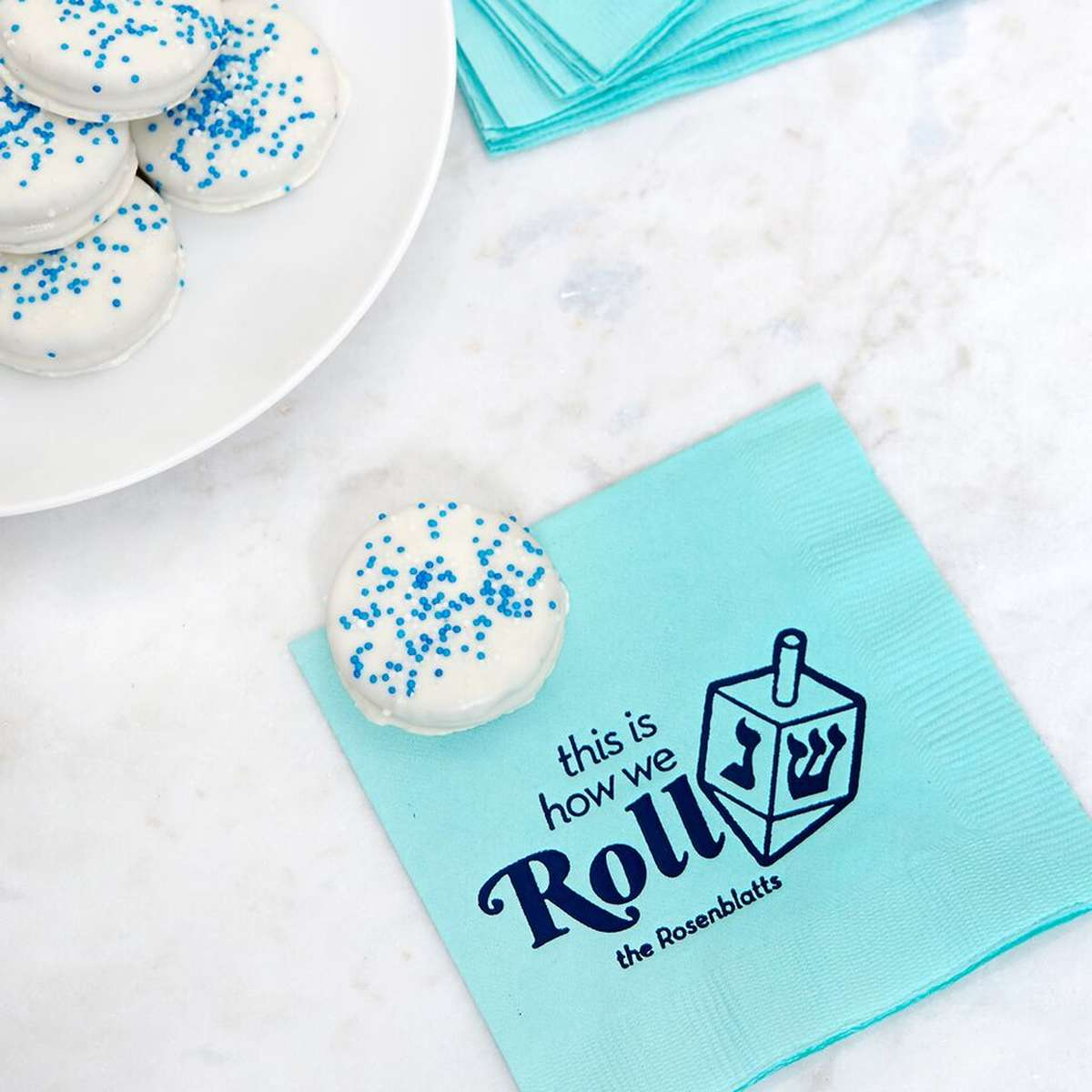 customized Hanukkah cocktail napkins
