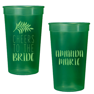 The ever-popular White 16 oz Stadium Cup with Matte Key Lime Ink Ink Color has a Leaves graphic and is good for use in Floral themed parties and can be customized to complement every last detail of your party.