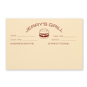 ForYourParty's elegant Natural Ivory Recipe Card with Matte Merlot Foil has a Burger graphic and is good for use in Food themed parties and will be the perfect gift for the grill master in your life.