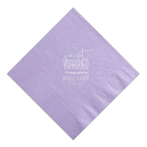 Custom Lavender Cocktail Napkin with Matte White Foil has a Leaf Vine graphic and is good for use in Frames themed parties and can be customized to complement every last detail of your party.