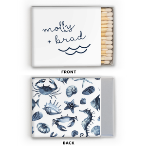 ForYourParty's personalized White Classic Photo/Full Color Matchbox with Matte Navy Ink Digital Print Colors has a Wave Accent graphic and is good for use in Travel, Beach/Nautical, Father's Day themed parties and will look fabulous with your unique touch. Your guests will agree!