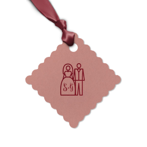 ForYourParty's personalized Natural Cranberry Round Gift Tag with Shiny Sky Blue Foil has a Wedding Couple graphic and is good for use in Wedding, Pairs themed parties and couldn't be more perfect. It's time to show off your impeccable taste.