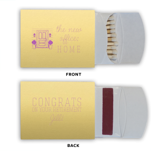 The ever-popular Poptone Mimosa Classic Matchbox with Satin Plum Foil Color has a Door graphic and is good for use in Home themed parties and will add that special attention to detail that cannot be overlooked.