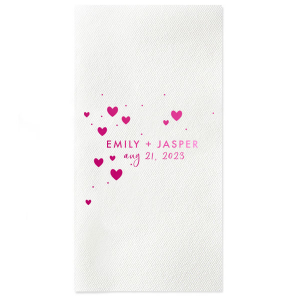 ForYourParty's elegant Peach Cocktail Napkin with Shiny Fuchsia Foil has a Hearts in Sky graphic and is good for use in Full Bleed, Hearts themed parties and couldn't be more perfect. It's time to show off your impeccable taste.