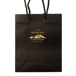 Custom Black Goodie Bag with Shiny 18 Kt Gold Foil Color has a Mountain graphic and is good for use in Travel, Destination and Adventure  themed parties and will give your party the personalized touch every host desires.