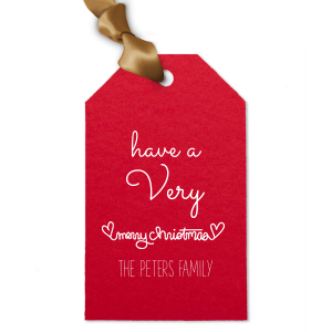 Our custom Poptone Convertible Red Diamond Gift Tag with Matte White Foil has a Merry Christmas Hearts graphic and is good for use in Christmas, Warm-Hearted themed parties and can be personalized to match your party's exact theme and tempo.