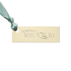 ForYourParty's elegant Linen Ivory Rectangle Gift Tag with Matte Slate Gray Foil has a Tea Time graphic and is good for use in Coffee, Tea, Brunch themed parties and couldn't be more perfect. It's time to show off your impeccable taste.