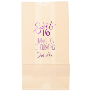 ForYourParty's chic White Gloss Goodie Bag with Shiny Amethyst Foil has a Sweet Sixteen graphic and is good for use in Kid and  Sweet Sixteen themed parties and will make your guests swoon. Personalize your party's theme today.