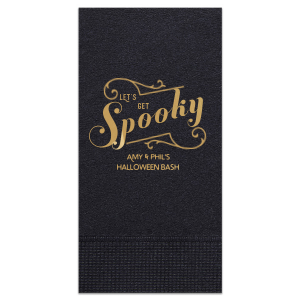 Our custom Black Cocktail Napkin with Shiny Champagne Foil has a Ornate Flourish graphic and is good for use in Halloween themed parties and can be customized to complement every last detail of your party.