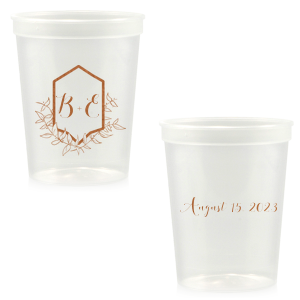 Our beautiful custom Ivory 16 oz Stadium Cup with Copper Ink Cup Ink Colors has a Crest Leaf graphic and is good for use in Floral and  Wedding themed parties and can be personalized to match your party's exact theme and tempo.