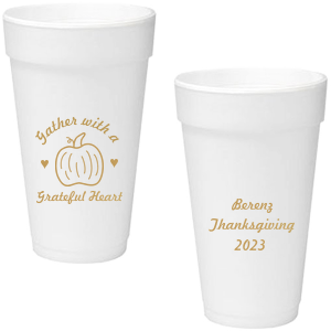 Our custom Gold Ink 20 oz Styrofoam Cup with Gold Ink Cup Ink Colors has a Pumpkin graphic and is good for use in Thanksgiving, Halloween themed parties and can't be beat. Showcase your style in every detail of your party's theme!