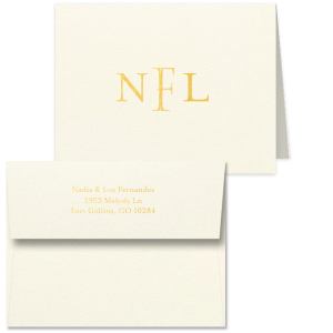 ForYourParty's elegant Strathmore Ivory Classic Note Card with a Shiny 18 Kt Gold Foil Monogram will make your guests swoon. Personalize your party's theme today.