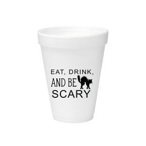 ForYourParty's elegant Matte Black Ink 12 oz Styrofoam Cup with Matte Black Ink Cup Ink Colors has a Black Cat graphic and is good for use in Animals, Halloween themed parties and will make your guests swoon. Personalize your party's theme today.
