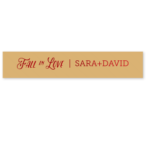 Customize this Fall in Love Gold ribbon with Matte Merlot Imprint Foil Color for a beautiful fall accent to your wedding or shower party favors. Add your names for a personal touch guests will love!