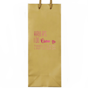 Our custom Gold Wine Euro Bag with Shiny Fuchsia Foil Color has a Diamond graphic and is good for use in Wedding themed parties and can be personalized to match your party's exact theme and tempo.