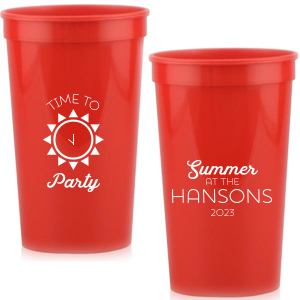 The ever-popular Red 16 oz Stadium Mood Cup with Matte White Ink Cup Ink Colors has a Sun graphic and is good for use in Beach, Pool and Nautical themed parties and couldn't be more perfect. It's time to show off your impeccable taste.