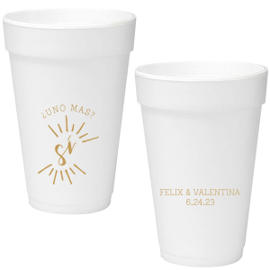 Our beautiful custom 16 oz Styrofoam Cup with Gold Ink has a Si graphic and is good for use in Weddings, Bridal Showers and Fiestas and will make your guests swoon. Personalize your party's theme today.
