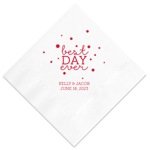 Have the best party details ever with this personalized napkin. Our Lipstick Red and Bubbles make this design perfect to make any engagement party, rehearsal dinner or wedding pop. Add your names and engagement or wedding date for a bar addition you and your guests will love!