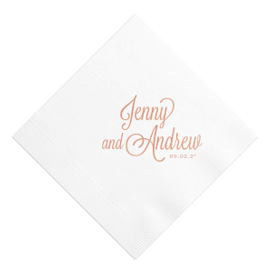 Impress your guests with custom diamond formal names cocktail napkins from For Your Party. Personalize your custom wedding cocktail napkins to perfection today.