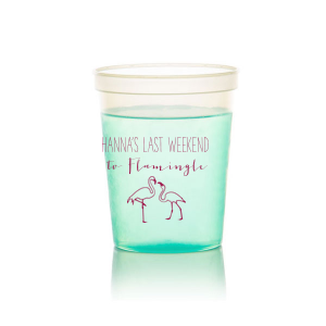 Our beautiful custom White 16 oz Stadium Cup with Matte Dark Magenta Ink Cup Ink Colors has a Flamingos graphic and is good for use in Animals, Beach/Nautical themed parties and will make your guests swoon. Personalize your party's theme today.