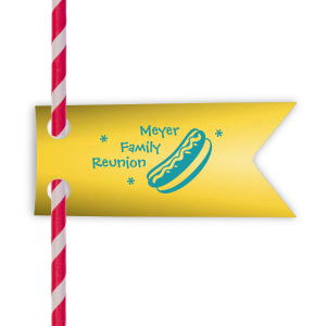 Personalized Poptone Yellow Rectangle Straw Tag with Matte Teal/Peacock Foil Color has a Hot Dog graphic and is good for use in Food themed parties and couldn't be more perfect. It's time to show off your impeccable taste.