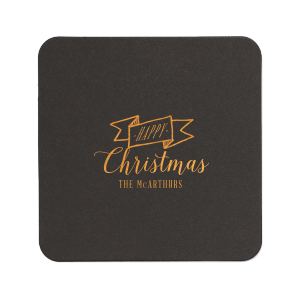 Personalized Eggshell Square Coaster with Shiny Merlot Foil Color has a Banner graphic and is good for use in Accents, Frames themed parties and will look fabulous with your unique touch. Your guests will agree!