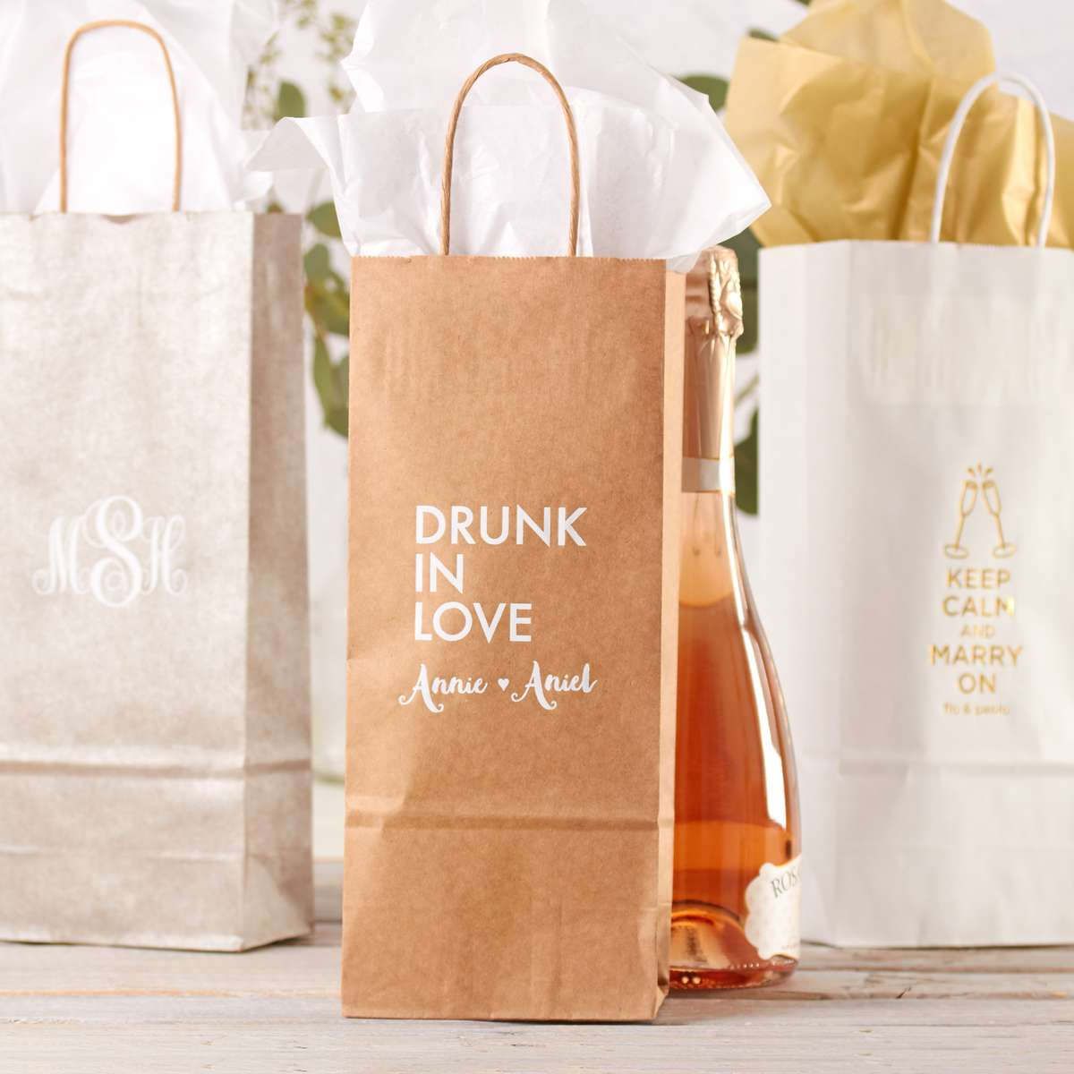 custom printed gift bags for wedding and party favors
