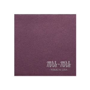ForYourParty's personalized Eggplant Linen Like Dinner Napkin with Satin Sterling Silver Imprint Foil Color has a Mrs. and Mrs. 2 graphic  and is good for use in Wedding themed festivities and are a must-have for your next event—whatever the celebration!